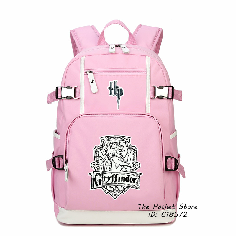Top Quality Magical Harry Potter Gryffindor Hufflepuff Ravenclaw Slytherin Printing Backpack Canvas School Bags Laptop Backpack action figure for kids harri potter cloak gryffindor ravenclaw slytherin hufflepuff magic school cosplay costumes cloaks robe