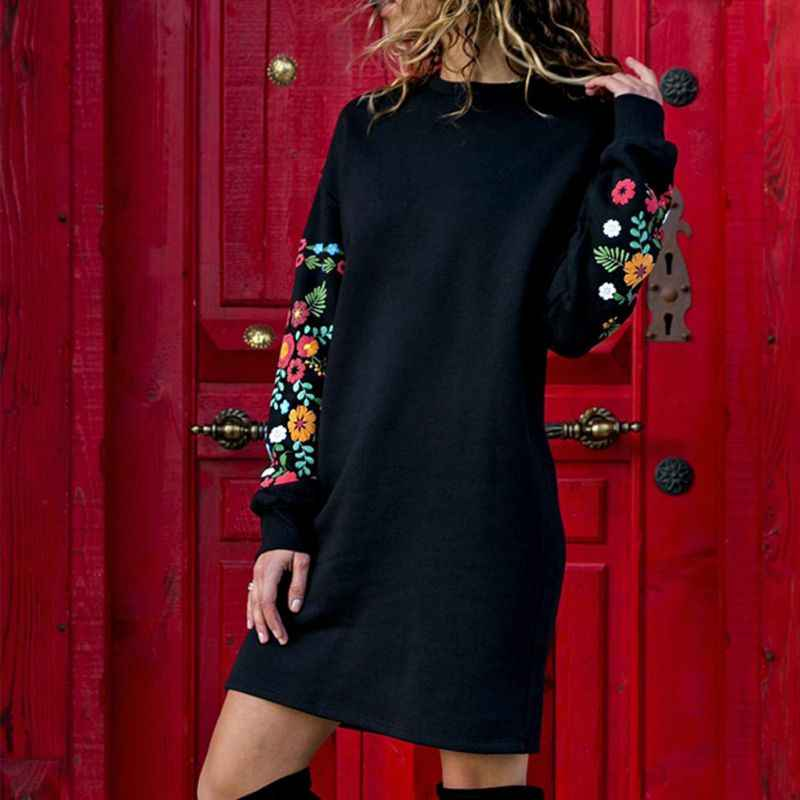 New Autumn 2019 Winter Dresses Women Hot Sale Casual Long Sleeve Floral Embroidery Sweatshirt Dress Party Wear Short Dress S-XL