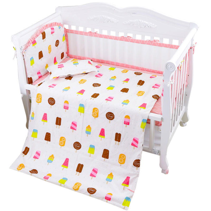 Bedding Sets 6pcs/set Cute Baby Crib Bedding Set Cotton Infant Bed Kits With Baby Cot Bumpers Bed Sheet Universe Kids Bedding Set Baby Item Pure Whiteness