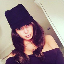 Nuevo invierno moda mujeres Devil sombrero lindo lana Derby Bowler gatito  gato orejas de tapa( b228fbc7aa6