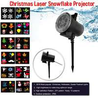 12 Patterns Christmas Laser Snowflake Motion Projector Outdoor LED Waterproof Disco Lights Home Garden Star Light Indoor Decor