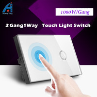 2 Gang 1 Way Crystal Glass Panel touch switch 240v,HUANGXING high quality US/AU Standard 1000W Wall light switch & Led indicator