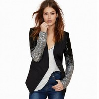 Autumn Sequin Patchwork Sleeve Jackets PU Leather Slim Fit Club Jacket Causal Winter Coats Female Outwear Hot Sell Plus size 4xl