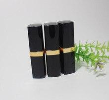 500 шт. Черный тюбик помады высокое качество DIY воск пчелиный бальзам для губ трубка с золотой цвета помада для губ трубку с золотой кольцо