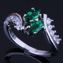 Terrific Green Cubic Zirconia White CZ 925 Sterling Silver Ring For Women V0408