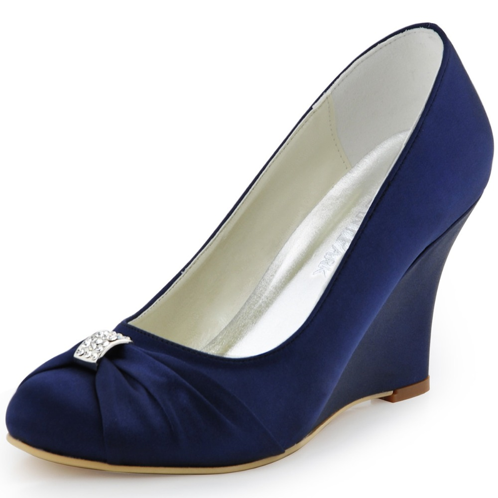 EP2005 Teal Navy Blue Women Shoes Bride Evening Party Round Toe Wedge Heel Pumps Satin Bowknot Rhinestones Wedding Bridal Shoes ep2094ae navy blue teal women evening party pumps high heel peep toe satin bride bridesmaids bridal wedding shoes ivory white