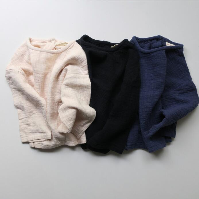 New Boys Girls Simple Solid Simple Bottoming Shirt Tees Black Beige Dark Blue Color Lovely Western