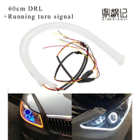 2X 60 Cm Flexible Double White Amber Led Light Strip Drl With Switchback Signal Sequential Flash