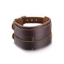 2016 Gift Trendy Jewelry Fashion Alloy Bracelets Rock Bangle Rivet Wide Leather Bracelets Men Casual Vintage Punk Brown Bracelet