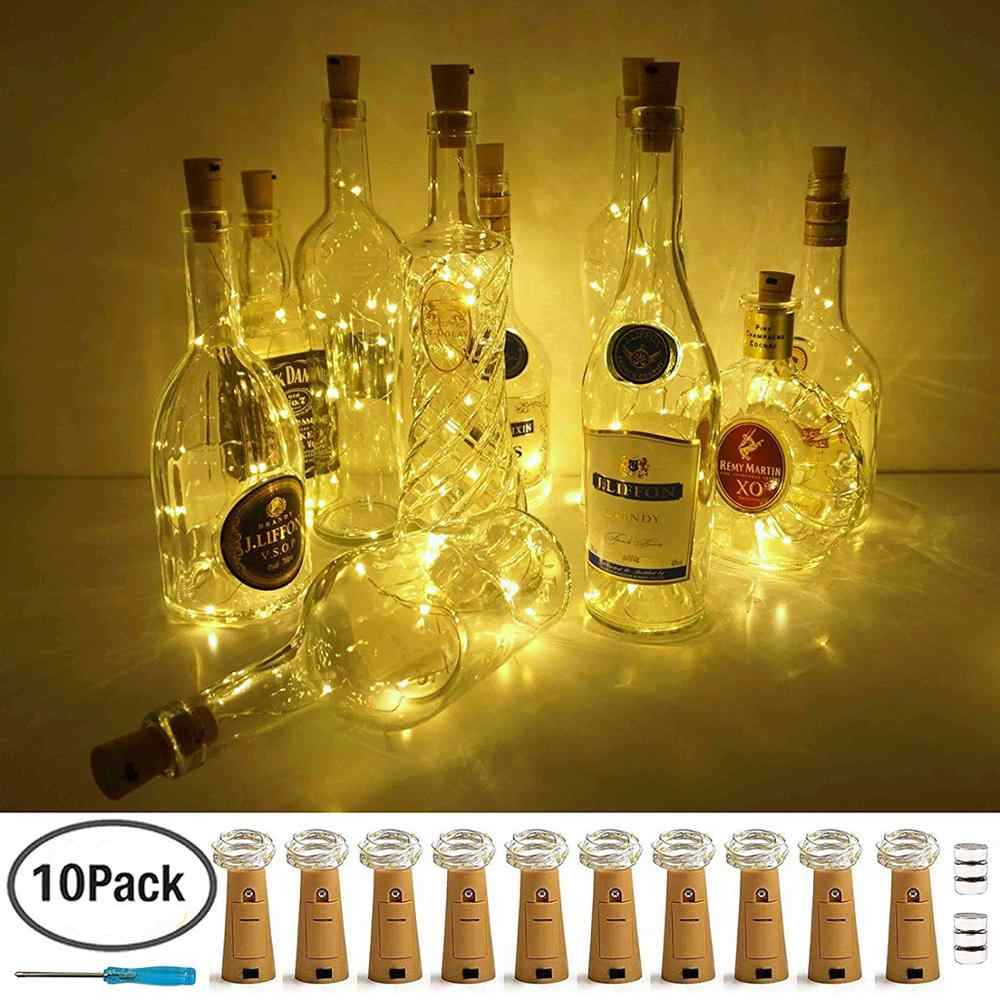 0.75M 1M 2M LED String Lights Garland Copper Wire Cork String Fairy Lights Wine Bottle Lights for Valentine Wedding Decoration