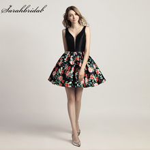 New Arrivals Floral Print Short Prom Dresses 2018 With V neck Homecoming Party Dresses Cocktail Dresses 8th Grade Dresses LSX434