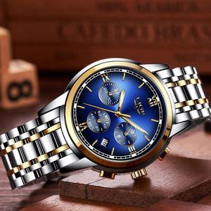 Image 4 - Montre Homme zegarek mężczyźni luksusowa marka LIGE Chronograph mężczyźni Sport zegarek wodoodporny pełna stal kwarcowy mężczyźni zegarki Relogio Masculino