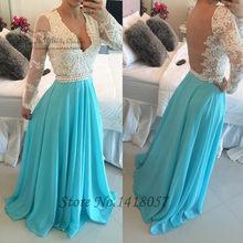 Blue Sky Lace Long Sleeve Evening Dress V Neck Special Occasion Gowns  Backless Long Prom Dresses 2016 Pearls Vestido de Noche c089e976d4e3