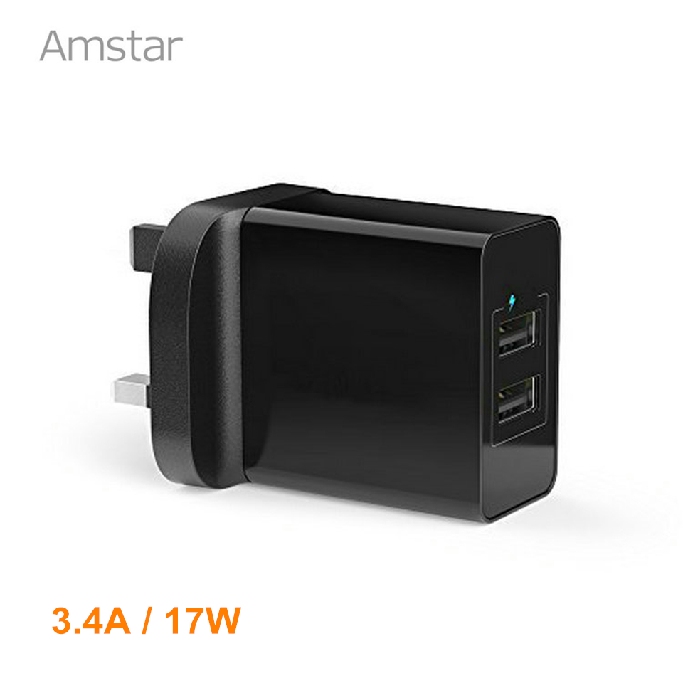 UK Plug 3 4A 17W Universal Travel Wall Charger Portable 2 Port USB Charger Adapter
