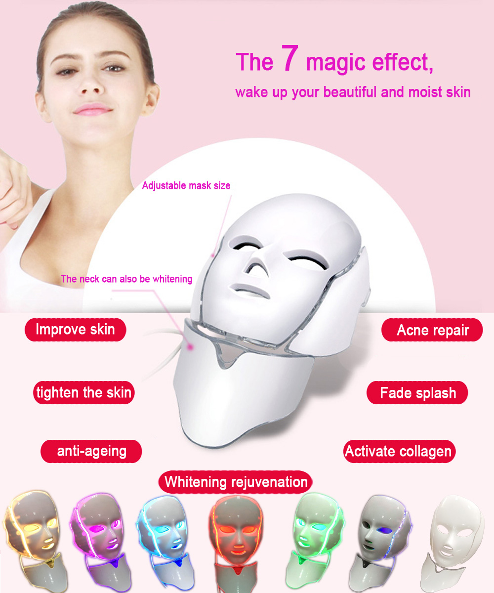 7 Color LED Facial Neck Mask With EMS Wrinkle Acne Removal Skin Rejuvenation Face Beauty Spa beurha facial mask led photon wrinkle acne removal beauty spa facial care led device skin rejuvenation electrical skin care tool
