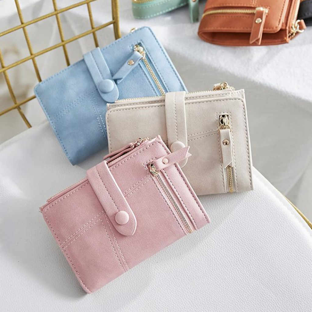 2019 Fashion Wallet Women Short Wallets Mini Money Purses Hasp Double Zipper Design Small Fold Female Coin Purse Card Holder