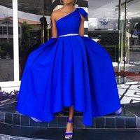 Элегантное синее платье на одно плечо Пол Длина вечерние туфли под платье туфли-плюс Размеры пикантная обувь со складками, без рукавов, трап...