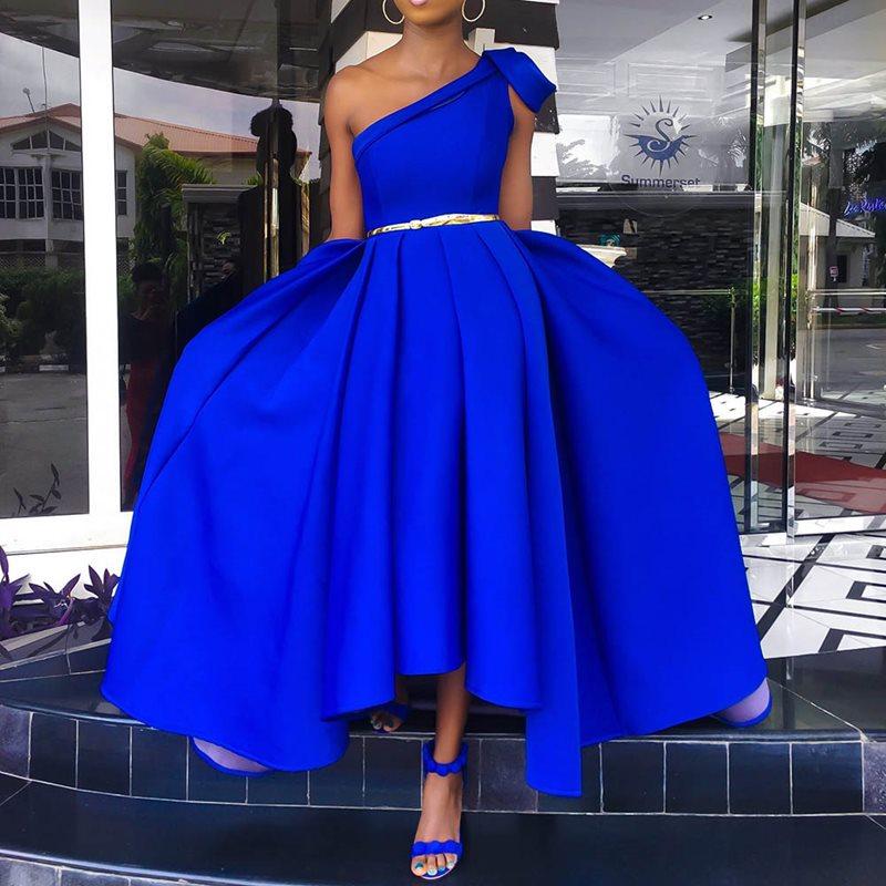 Elegant Blue One Shoulder Floor Length Party Dress Evening Plus Size Sexy Sleeveless Pleated A Line Women Long Maxi Dress 2019