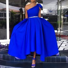 Elegant Blue One Shoulder Floor Length Party Dress Evening Plus Size Sexy Sleeveless Pleated A Line Women Long Maxi 2019