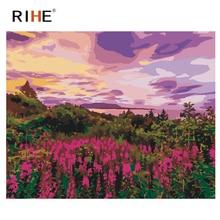 RIHE Purple World Diy Painting By Number Flower Sea Oil Cuadros Decoracion Acrylic Paint On Canvas Modern Wall Art 2018