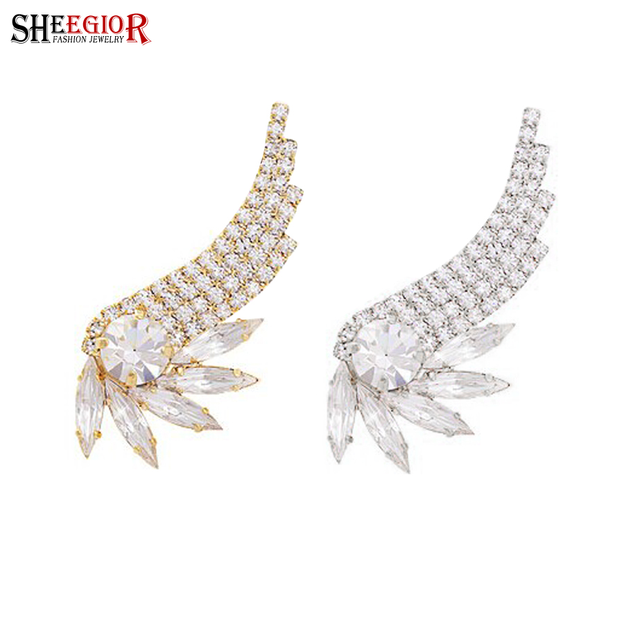 021ee8a3027a SHEEGIOR Corea encantadora alas del ángel Ear Cuff pendientes de cristal de  oro plata color pendientes de Clip para las mujeres joyería accesorios  regalos