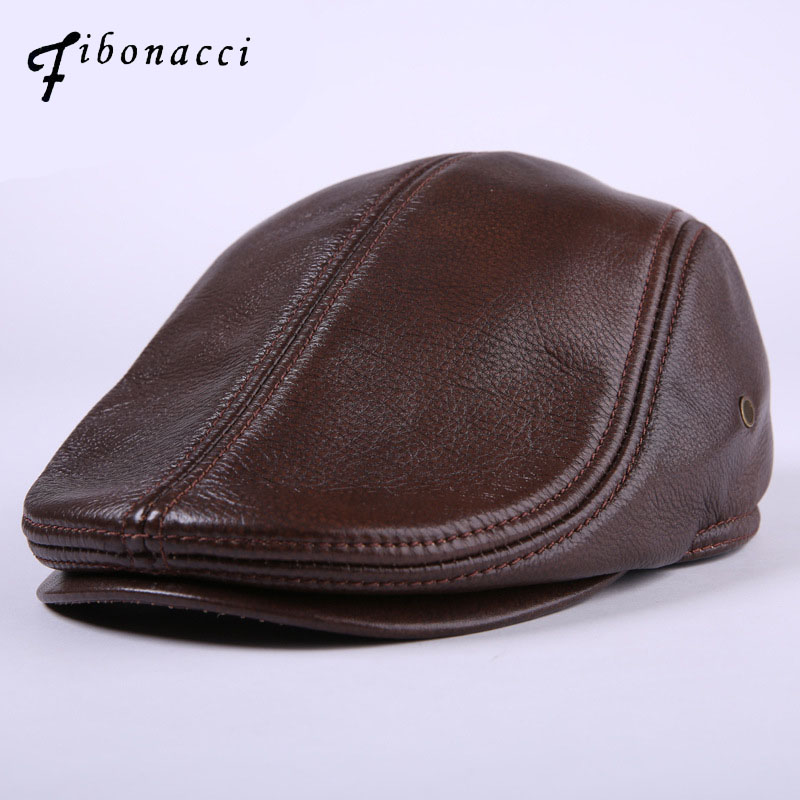 Fibonacci Cowhide Genuine Leather newsboy cap middle aged and old man vintage flat cap e ...
