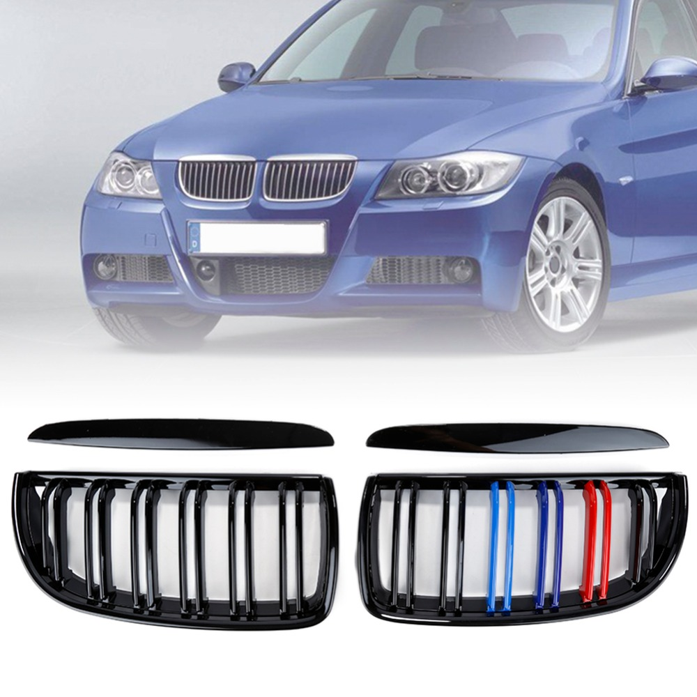 Car Left Right Glossy Black Front Kidney Grilles Replacement for 2005-2008 BMW E90 320i 323i 328i 335i Sedan/Wagon 2 x grilles left