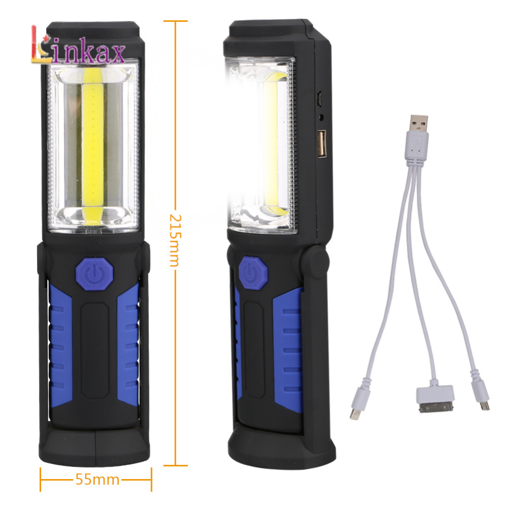 USB Rechargeable COB LED Flashlight COB Light Strip +1LED Torch Work Hand Lamp Lantern Magnetic Waterproof Emergency LED Light