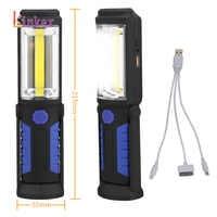 Usb recarregável cob led lanterna cob luz tira + 1led tocha trabalho mão lâmpada lanterna magnética à prova dmagnetic água de emergência led luz