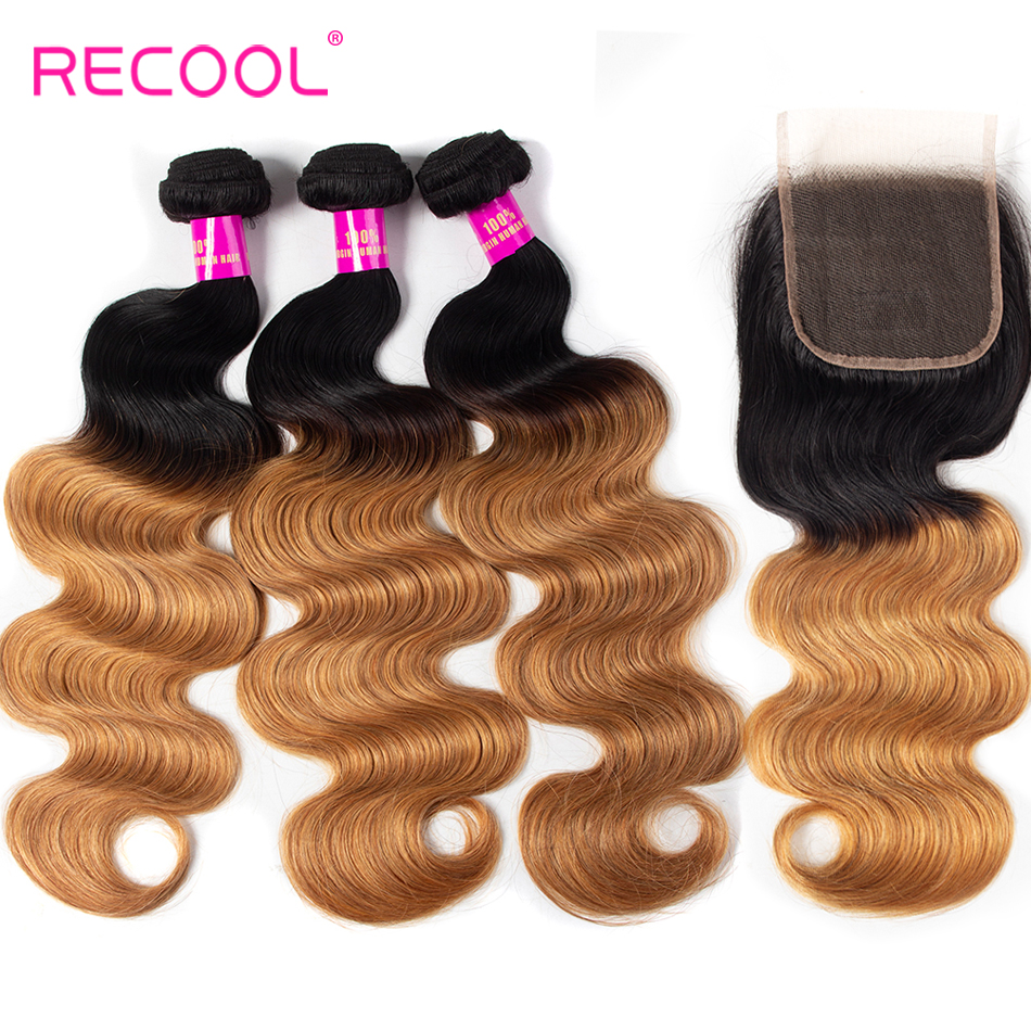 Recool Ombre Brazilian 1B 27 Body Wave Hair Human Hair Bundles With Closure Ombre Hair Extension