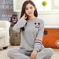 Tinyear Nuevo 2017 mujeres encantadora trajes de noche 100% de algodón M-2XL damas pijamas de dibujos animados pijamas de manga larga ocasional otoño