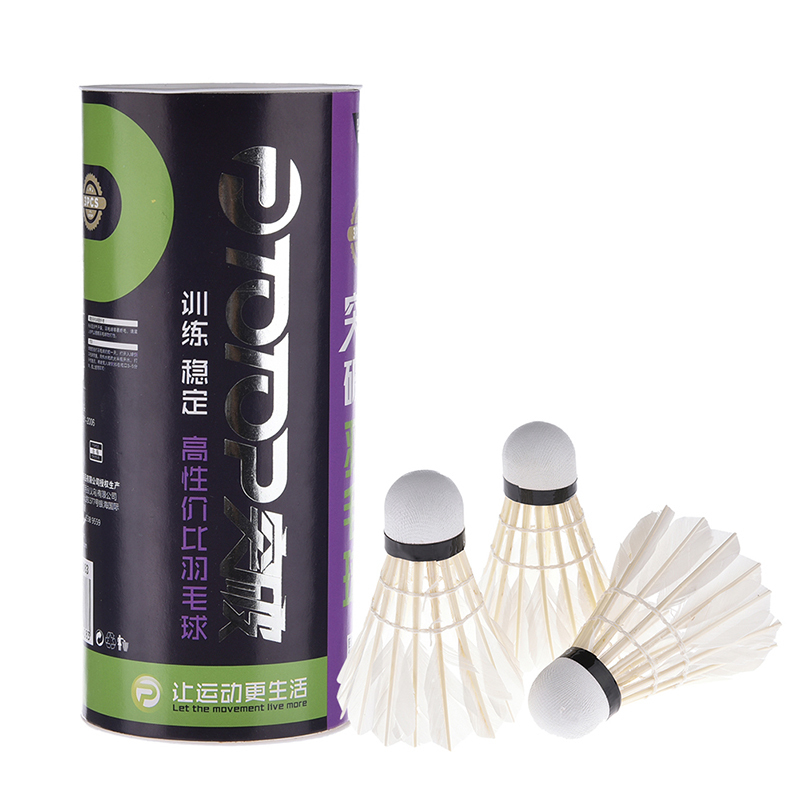 Badminton Shuttlecock White Goose Board Feather Flying Stability Durable Shuttlecock Ball 3pcs/ 6pcs/12pcs Barrel