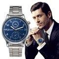 Relogio masculino de Luxo de Moda de Aço Inoxidável Dos Homens Do Esporte Blue Ray Vidro de Quartzo Relógios Casual Cool Homens Relógio Marca de Relógios