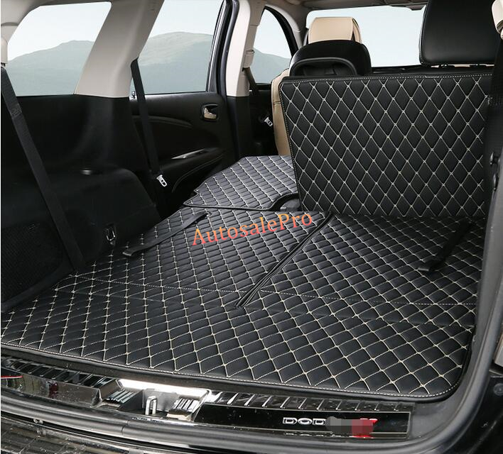 PU leather Rear Trunk Hatch Floor Mat Carpets Protector Pad cover For Dodge Journey 7 seats 2013 ...