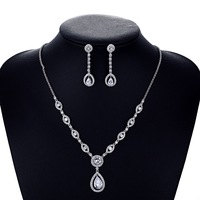 Crystal CZ Cubic Zircon Bridal Wedding Y Necklace Earring Set Jewelry Sets Women Accessories CN10015