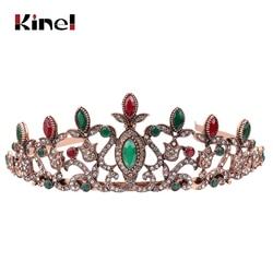 Kinel Vintage Women Bridal Crystal Tiara Crown Head Jewelry Princess Queen Turkish Wedding Hair Accessories Flower Hairwear