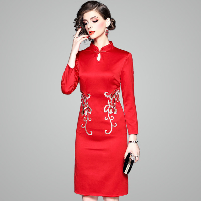 ba6e371fd31d6 OYCP Fashion Dress Autumn Winter New Chinese Red New Year Dresses with Embroidered  Slim Elegant Dress