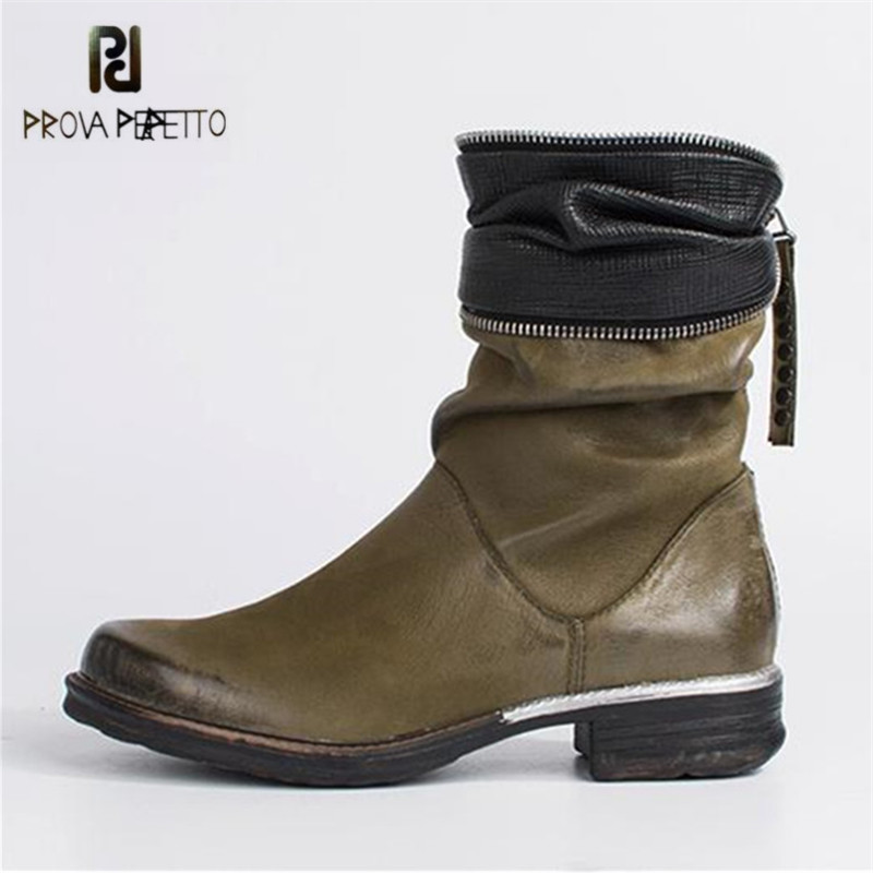 Prova Perfetto Green Ankle Boots for Women Zipper Decor Flat High Boots Rubber Shoes Woman Platform Autumn Winter Botas Mujer mabaiwan retro brown ankle boots for women metal decor autumn winter botas mujer genuine leather platform rubber shoes woman