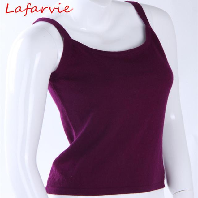 Lafarvie Nova Estrela Quente Qualidade Superior Cashmere mistura Sexy Camisoles & Tanks Algum País Shipping8 Livre Cores