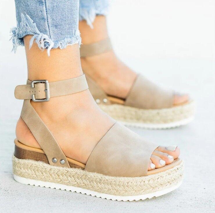 Platform Sandals Women Wedges Shoes Pumps Ankle-Strap High-Heels Femme
