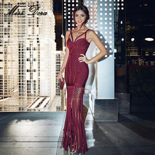 2016 new winter hollow out sexy wine red Tassels bandage dresses Elegant  sleeveless women celebrity party runway maxi dress eacc7219ee8e