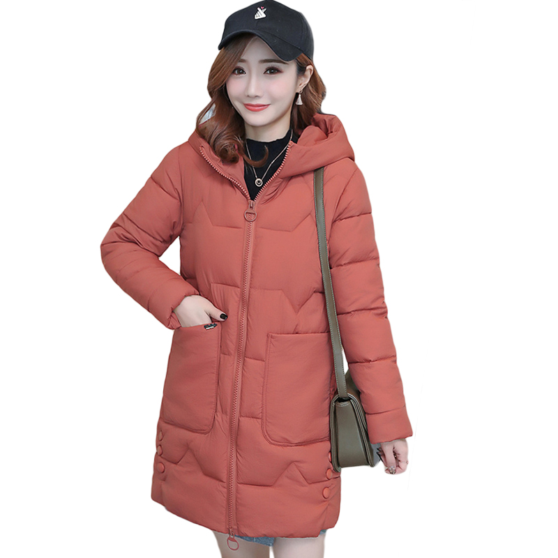 Large Size 3XL Women   Parkas   Jacket 2019 Winter Thicken Warm Solid Hooded Two Big Pocket Padded   Parkas   Outwear Jacket Coat D644