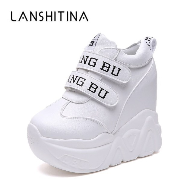 c2afc6f00e7 Hot Sale 2018 High Heel Wedges Platform Sneakers 11CM Height Increasing  Women Pu Leather Shoes Comfortable Casual Woman Shoes