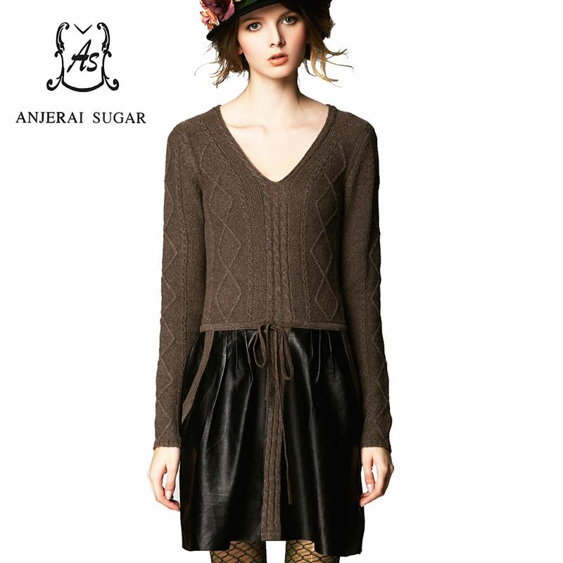 Осень и зима женщины платье V шеи макси сексуальный черный и коричневый кожа овчины вязаный свитер платье женщин vestidos одежда