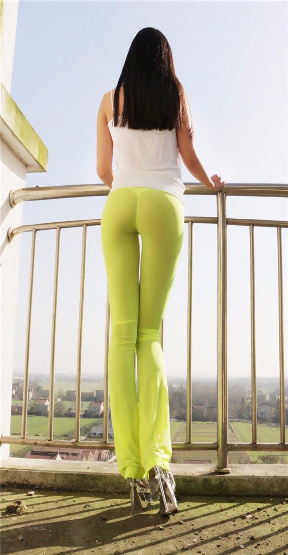 451909a3ade7bf Aliexpress.com : Buy Kim Kardashian Sexy Hips Women Semi See Through Sheer  Soft Pants Leggings Lingerie Flare Leg Trousers Bell bottoms Nightclub from  ...