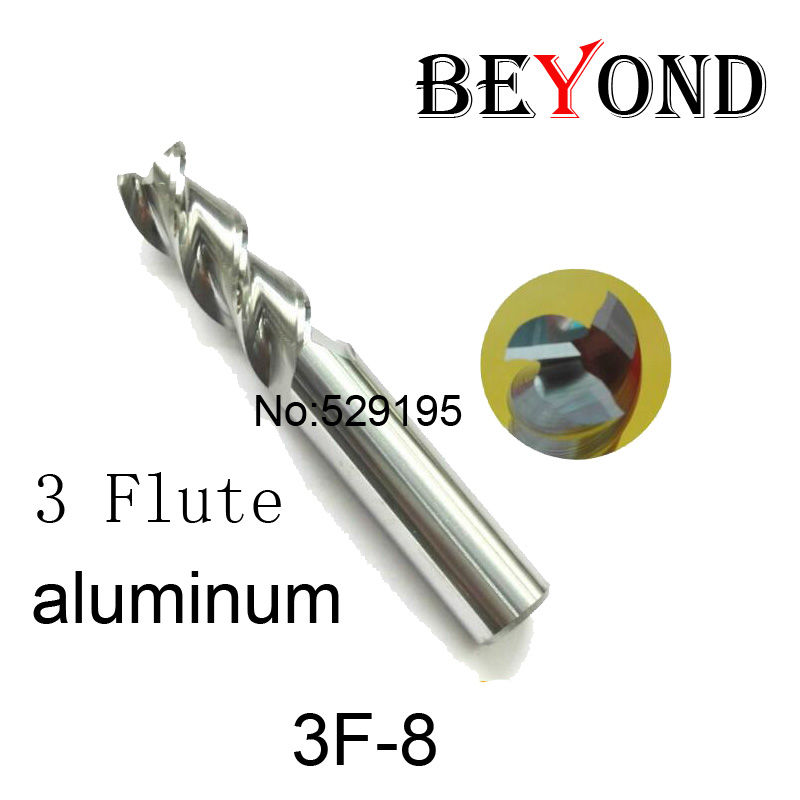 3f-8.0,hrc50,carbide Square Flatted End Mill,3flute Milling Cutter For Aluminum Endmill Tools Carbide Cnc End Mill Router Bits