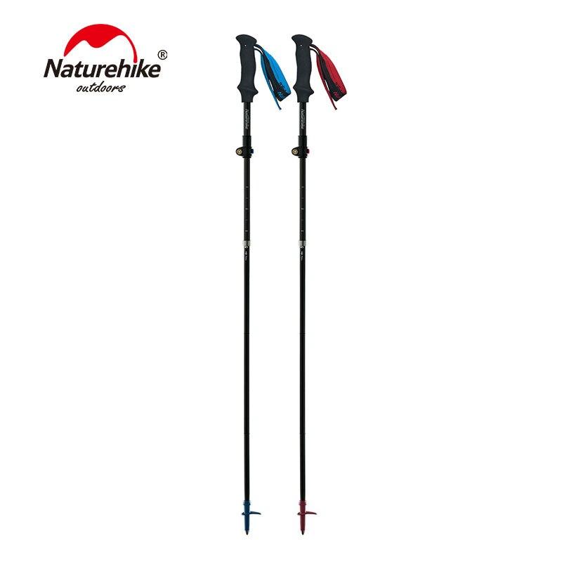 Naturehike 175g High Toughness Carbon Fibre 5-Section Fold Walking Stick Trekking Pole externally locked telescopic Hiking Stick