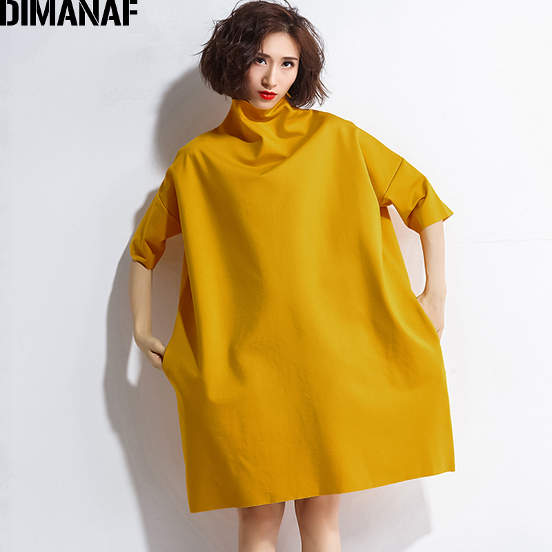 DIMANAF Autumn Dresses Women Turtleneck Cotton Knitting Femme Clothes Elegant Solid Vestidos Plus Size Fashion Ladies Dress 2018