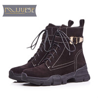 MLJUESE 2019 women ankle boots cow suede lace up black color strange heel winter short plush women boots Dad sneakers