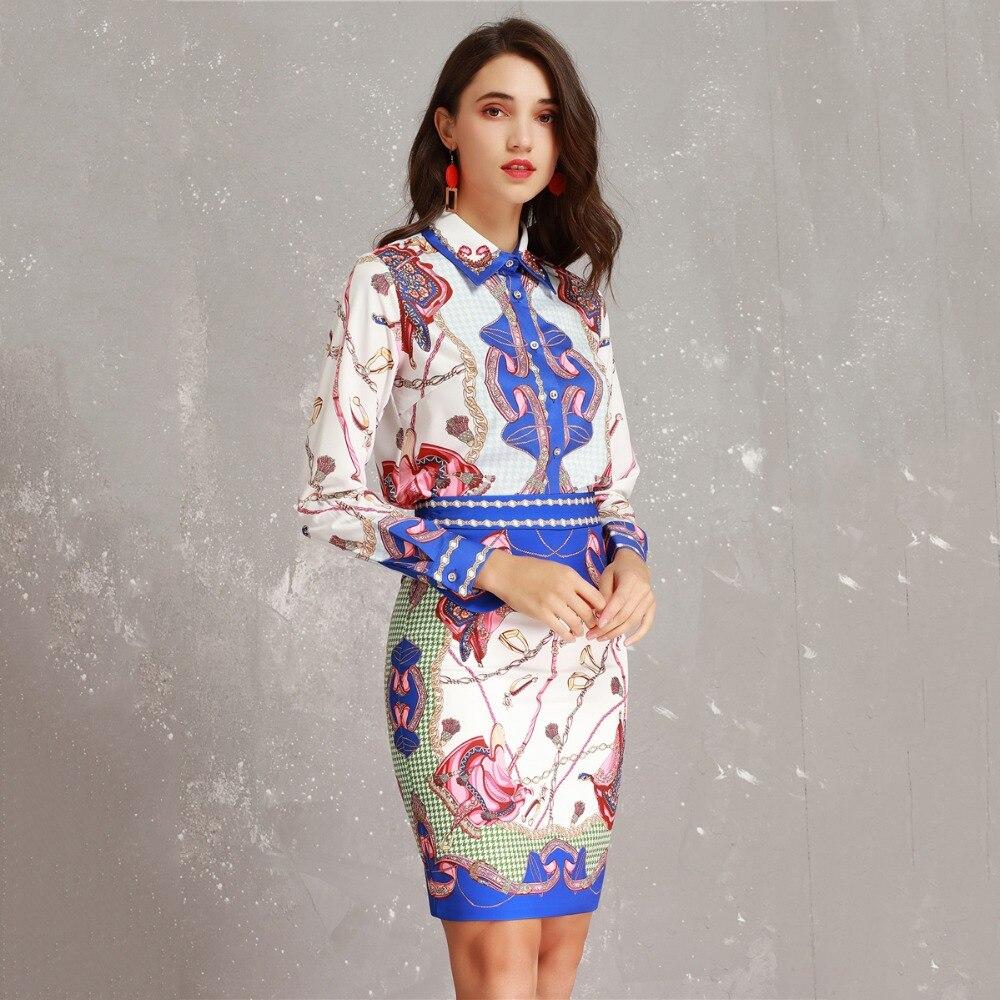 Vêtements Costume Color Crayon Designer Set Longues 2019 Blouse Jupe Multi Beadsdiamond Nouveau Pour Femmes À Résumé Imprimer Manches Block xEIOqZnO